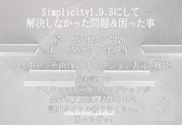 Simplicity1.9.3 を導入して解決しなかった問題&困った事